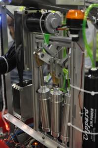 Low volume high pressure pump develops 8-10 in-Hg vacuum.