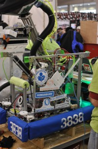 Our robot, proudly displaying our sponsors.