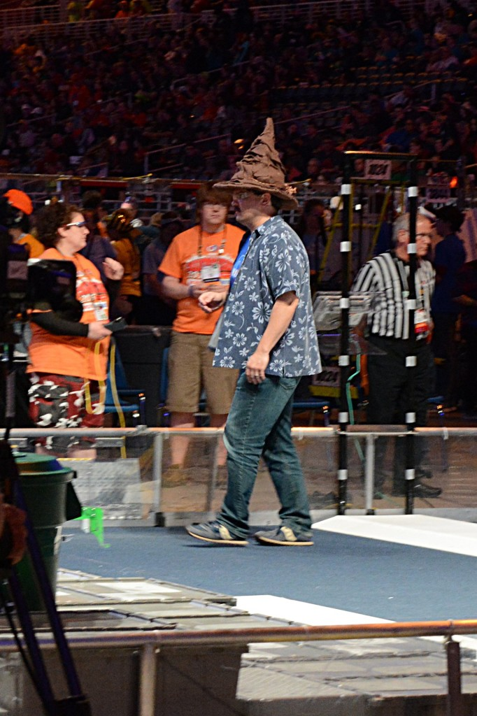 Team 5012 Gryffingear from Palmdale CA loans their sorting hat to the announcer on Day 2.